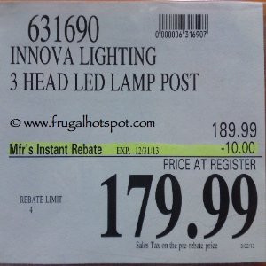 Innova Lighting LED 3 Light Outdoor Lamp Post Costco Price