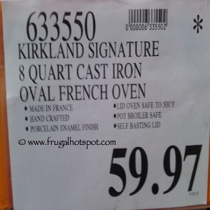 Kirkland Signature 8 Quart Enameled Cast Iron Oval French oven Costco Price