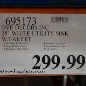 "Ove Decors Inc 28"" White Utility Sink with Faucet Costco Price"