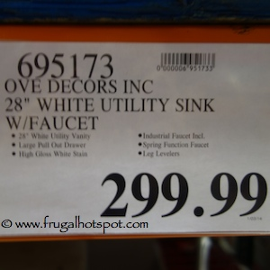 """Ove Decors Inc 28"""" White Utility Sink with Faucet Costco Price"""