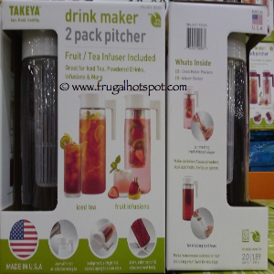 Takeya Drink Maker 2 Pack Pitcher With Tea Fruit Infuser | Costco