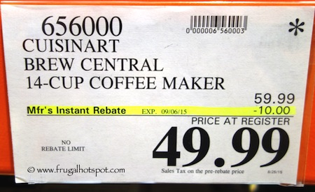 Cuisinart Brew Central 14-Cup Programmable Coffeemaker Costco Price