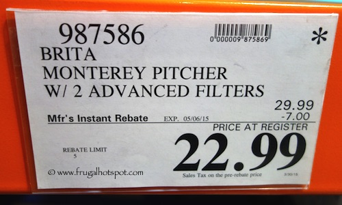 Brita Monterey Pitcher with 2 Filters Costco Price