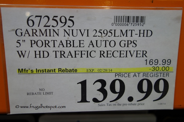 "Garmin Nuvi 2595 LMT 5"" Portable GPS Costco Price"