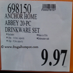 AnchorHome Collections 20 Piece Abbey Drinkware Set Costco Price