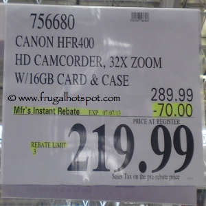 Canon vixia HFR400 HD Camcorder Costco Price