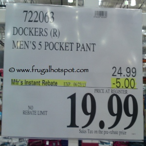 Dockers Men's 5 Pocket Straight Fit Pant Costco Price