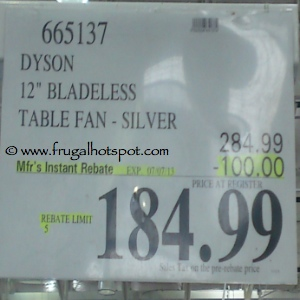 "Dyson Air Multiplier Bladeless 12"" Table Fan Costco Price"