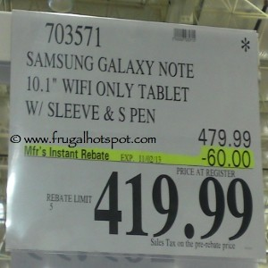 "Samsung Galaxy Note 10.1"" WiFi Only Tablet with sleeve Costco Price"