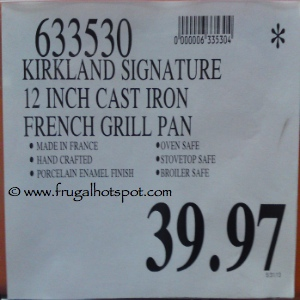 "Kirkland Signature 12"" Cast Iron French Grill Pan Costco Price"