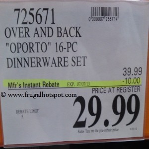 Over And Back Oporto 16 Piece Dinnerware Set Costco Price