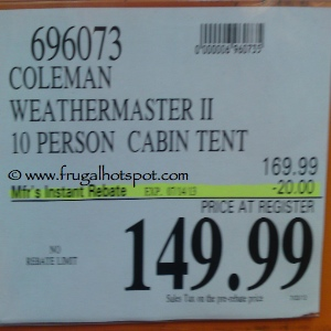 Coleman WeatherMaster II 10 Person Tent Costco Price  sc 1 st  Frugal Hotspot & Costco Sale: Coleman Weather Master II- 10 Person Tent $149.99 ...