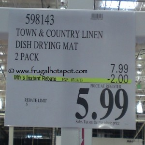 Town & Country Microfiber Reversible Dish Drying Mat Costco Price