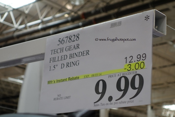 "Tech Gear Mega Filled Binder 1.5"" D-Ring Costco Price"