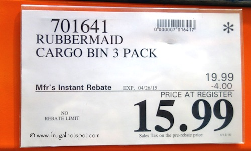 Rubbermaid Cargo Bin 3 Pack Costco Price