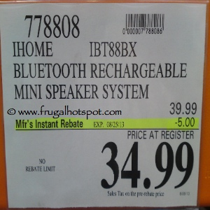 iHome Bluetooth Rechargeable Speaker Costco Price