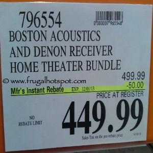 Boston Acoustics and Denon Receiver Home Theatre Bundle Costco Price
