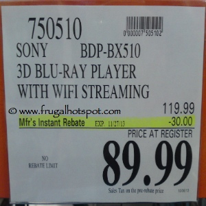 Sony BDPBX510 BluRay Player with WiFi Streaming Costco Price