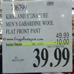 Kirkland Signature Men's Gabardine Wool Pant Costco Price