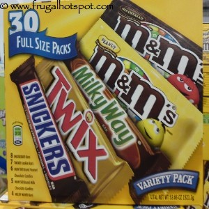 M&M's Mars Full Size Candy Bars Variety Pack 30 Count