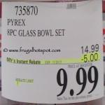 Pyrex 8 Piece Glass Mixing Bowl Set Costco Price