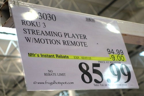 Roku 3 Streaming Player with Motion Remote Costco Price