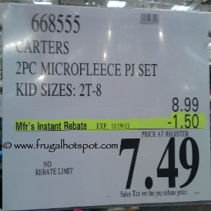 Carters 2 Piece Microfleece PJ Set Costco Price
