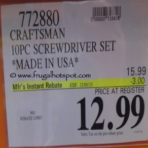 Craftsman 10 Piece Screwdriver Set Costco Price