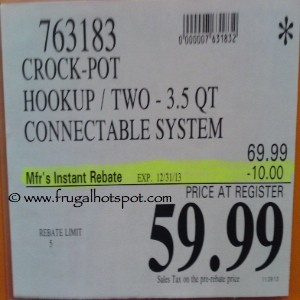 Crock Pot HookUp Two 3.5 Quart Connectable System Costco Price