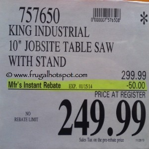"""King Industrial 10"""" Jobsite Table Saw with Stand Costco Price"""