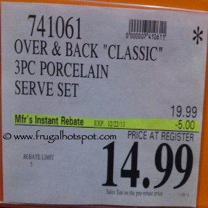 Over And Back 3 Piece Porcelain Serve Set Costco Price