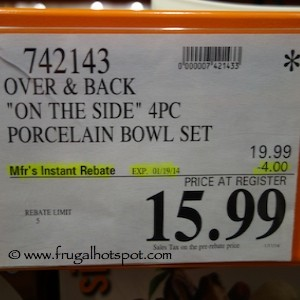 Over & Back On The Side 4 Piece Porcelain Bowl Set Costco Price