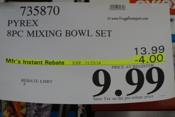 Pyrex 8 Piece Mixing Bowl Costco Price