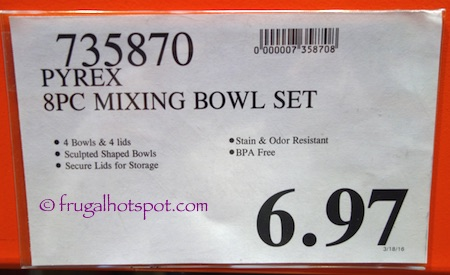 Pyrex Limited Edition 8 Piece Glass Mixing Bowl Set Costco Price | Frugal Hotspot