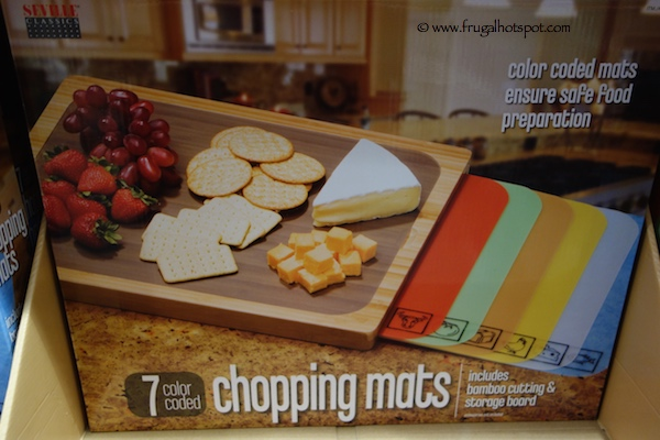 Seville Classics Bamboo Cutting Board with 7 Chopping Mats Costco