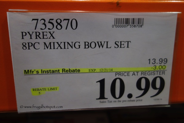 Pyrex Mixing Bowls 8-Piece Set Costco Price