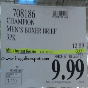 Champion Elite SmartTemp Boxer Briefs 3 Pack Costco Price