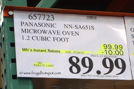 Panasonic Inverter 1.2 Cu Ft Microwave Oven (NN-SA651S) Costco Price
