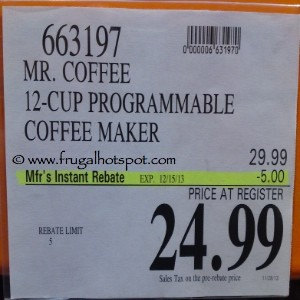 Mr. Coffee 12 Cup Programmable Coffee Maker Costco Price