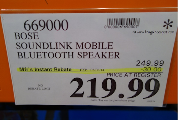 Bose SoundLink Mobile Bluetooth Speaker Costco Price