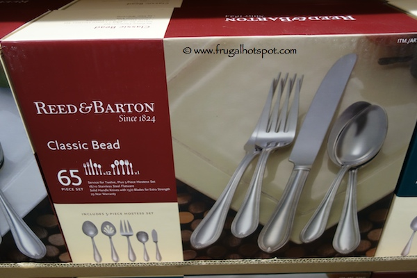 Reed & Barton 65 Piece 18/10 Stainless Steel Flatware Set Classic Bead