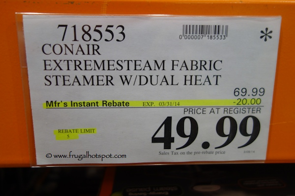 Conair ExtremeSteam Fabric Steamer with Dual Heat Costco price