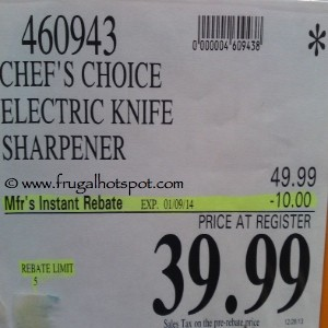 Chef's Choice Diamond Hone Electric Knife Sharpener Model 314 Costco Price
