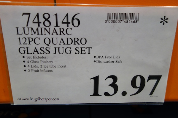 Luminarc 12 Piece Quadro Glass Jug Set Costco Price