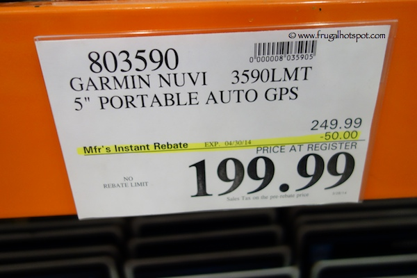 "Garmin Nuvi 3590 LMT 5"" Portable Auto GPS Costco Price"