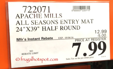 Apache Mills All Seasons Entry Mat Half Round Costco Price | Frugal Hotspot