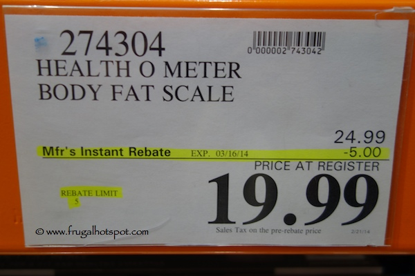 Health O Meter Body Fat Scale Costco Price