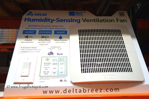 Delta Breez Bath Ventilation Fan with Humidity Sensor Costco