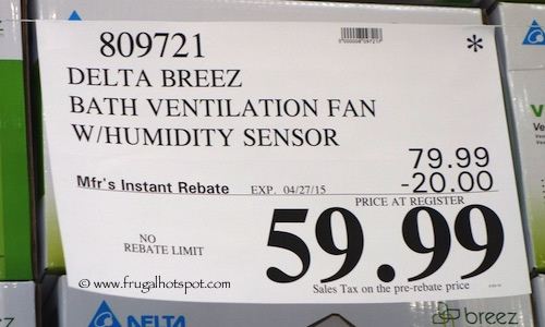 Delta Breez Bath Ventilation Fan with Humidity Sensor Costco Price