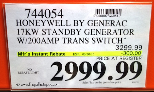 Honeywell by Generac 17KW Standby Generator with 200 AMP Trans Switch Costco Price